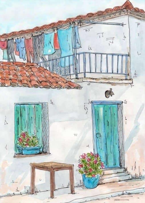 village house blue door shutters flowers