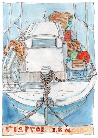 greek fishing boat canvas print