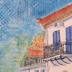 giclee, canvas, print, village, house, greece, blue, gilltomlinson, art