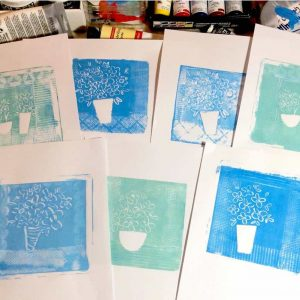 monoprint, florals, blue, white, paintings, greece