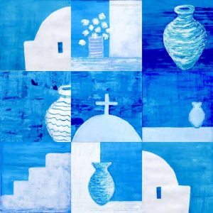 blue, white, paintings, greece, cyclades, gilltomlinsonart