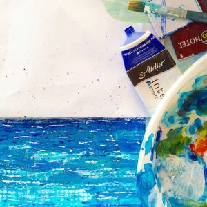 seascape, painting, greece, blues, gilltomlinsonart