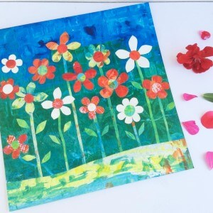 May, flowers, collage, painting, mixed media, gill Tomlinson, art