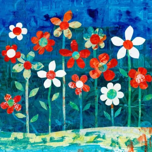 colourful collage floral art May flowers