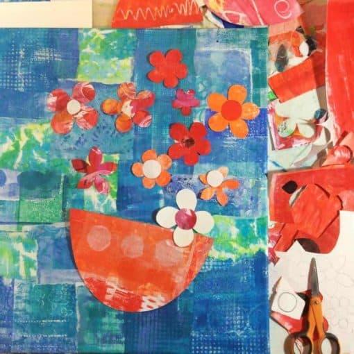 floral, art, blues, oranges, cut, paper