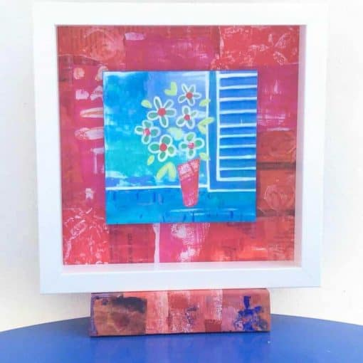 bright collage floral painting