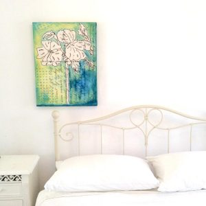 Santorini, flower, canvas, art, print