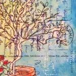Tree, pot, postcard, art, greece, gill tomlinson