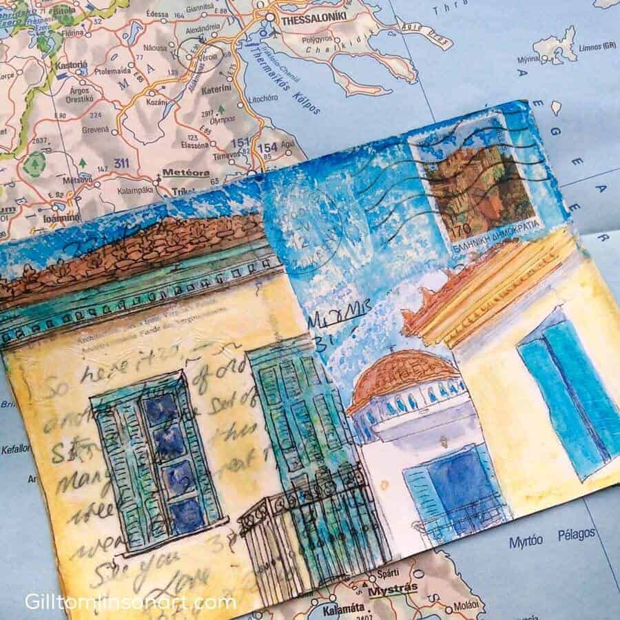 altered, postcard, painting, greece