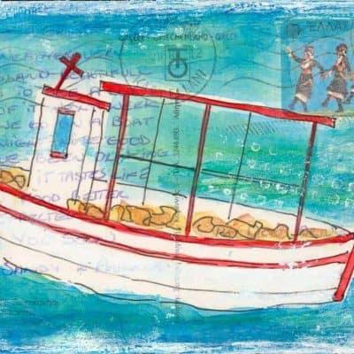 fishing boat Greece postcard painting