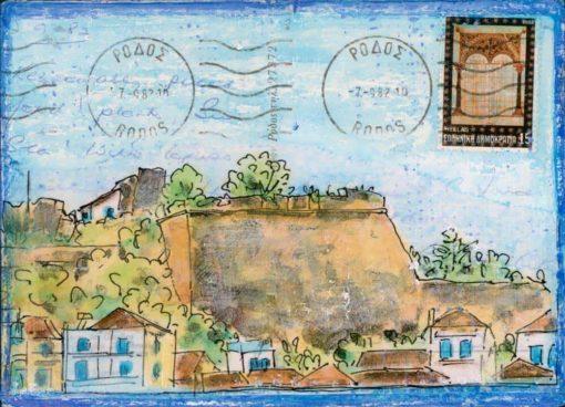 Castle walls Greek village altered postcard painting