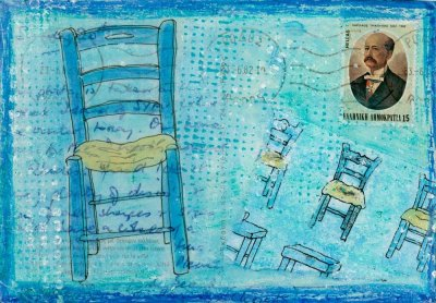 taverna chairs blue collage postcard art