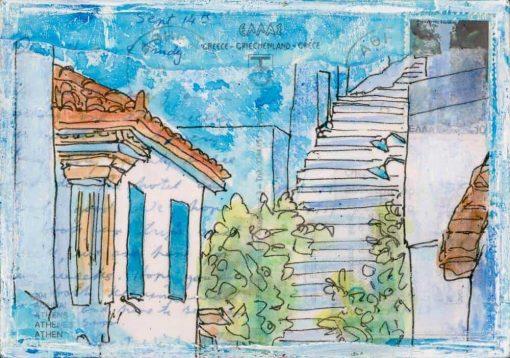 Greek village steps on postcard painting