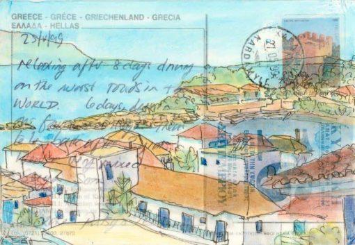 Greec harbour village altered postcard painting