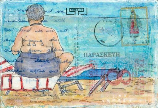 beach babe painting postcard art Greece