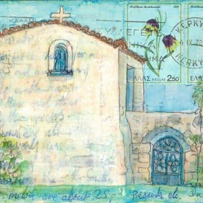 Greek chapel postcard art