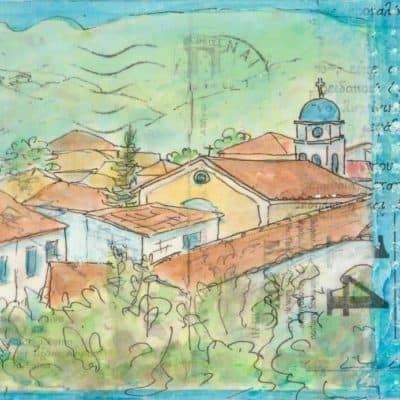 Greek village collage painting postcard art