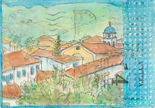 Greek village collage painting postcard art