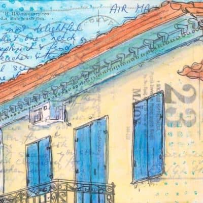postcard art Greek village house