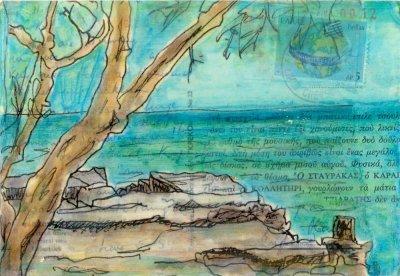 seascape on Greek postcard collage