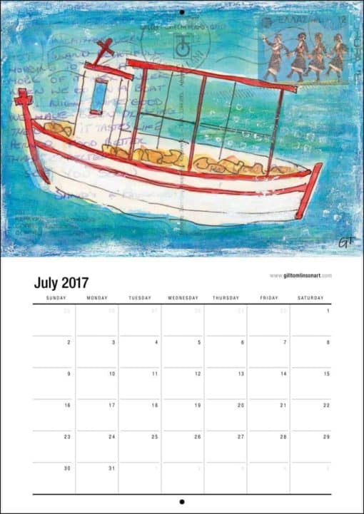 Greece art calendar fishing boat painting July