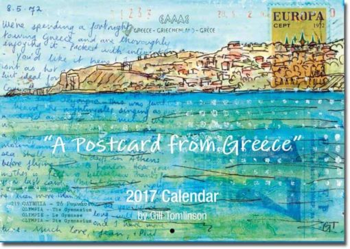 postcard from Greece art calendar seaside painting