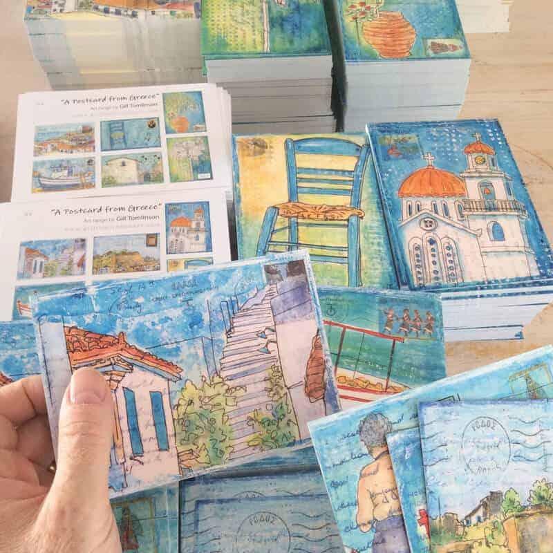 greece, postcards, art, cards, gill-tomlinson