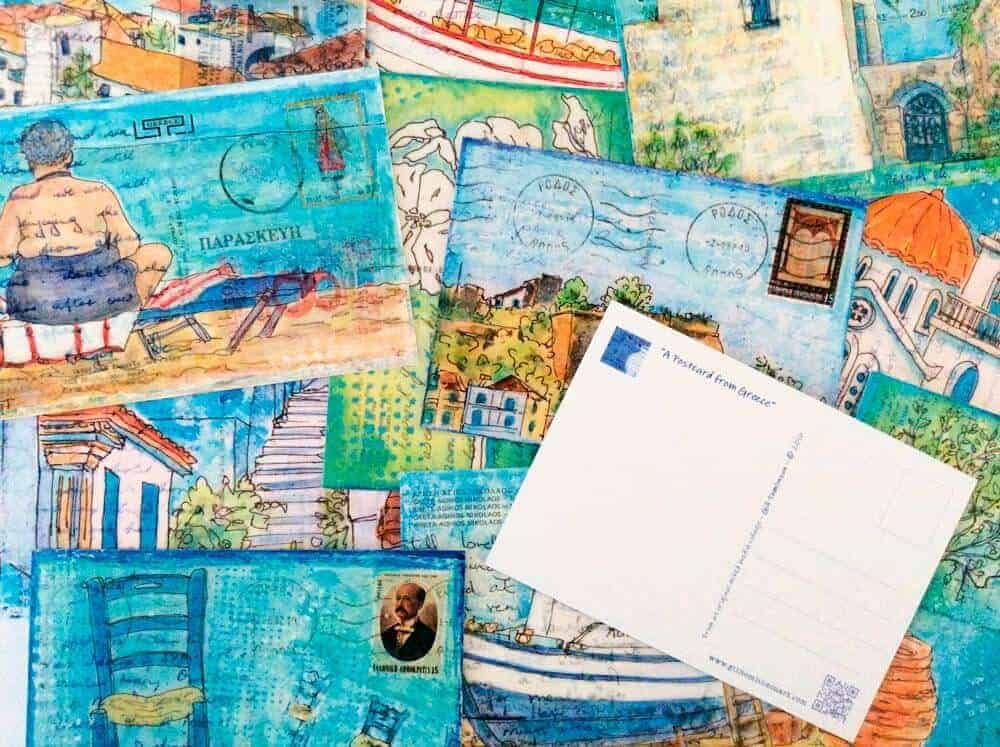 postcard from Greece art postcards by Gill Tomlinson