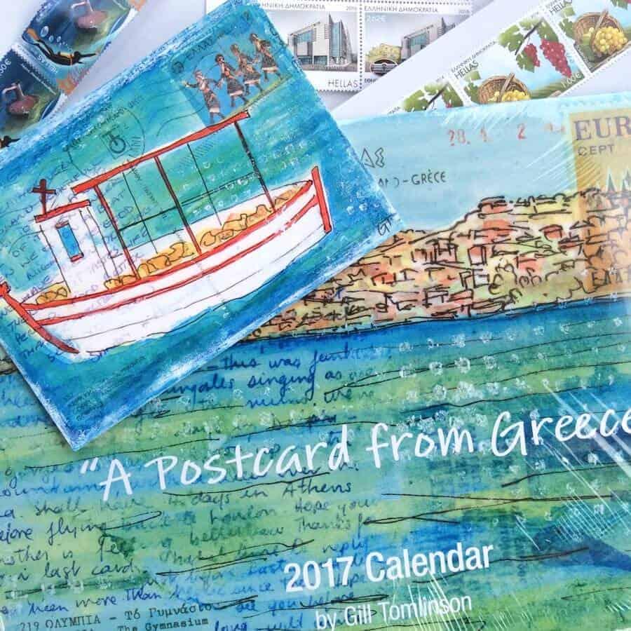 calendar,2017,art,gilltomlinson,greece,postcards