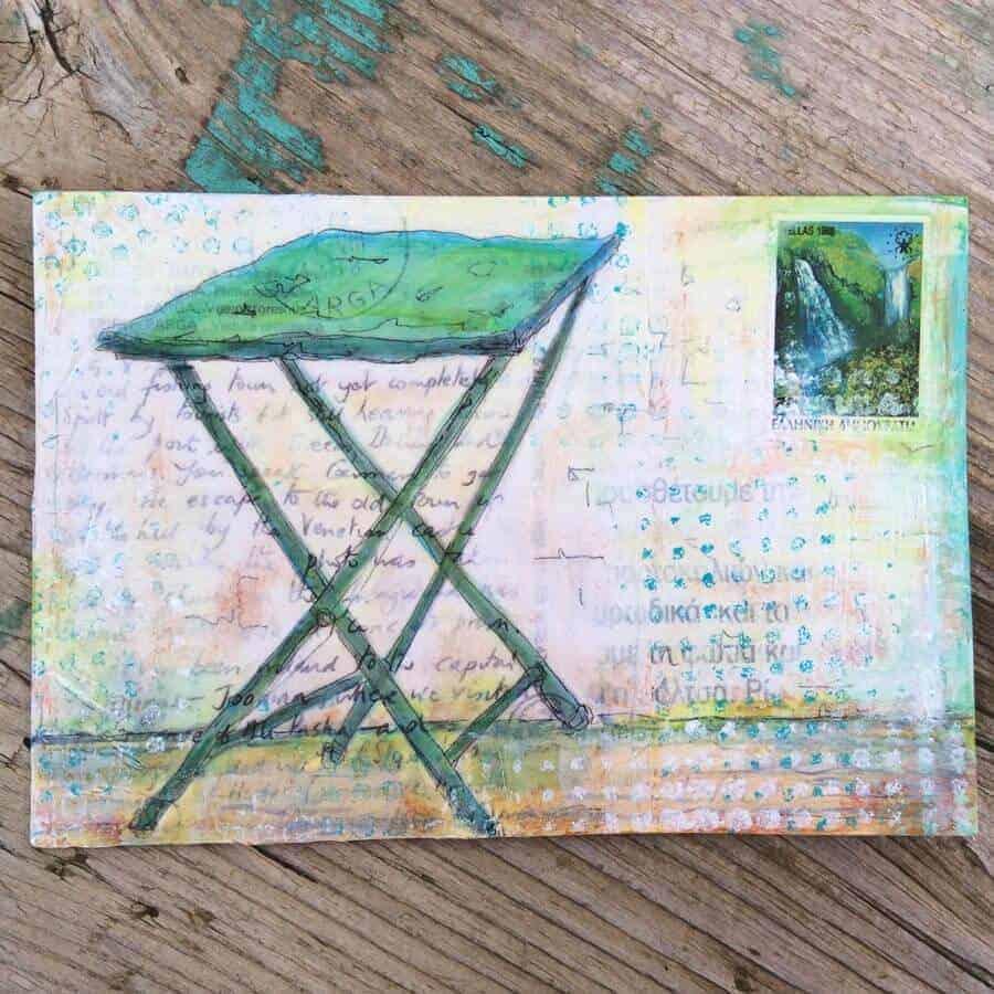 table,cafe,greece,green,para,postcard,art