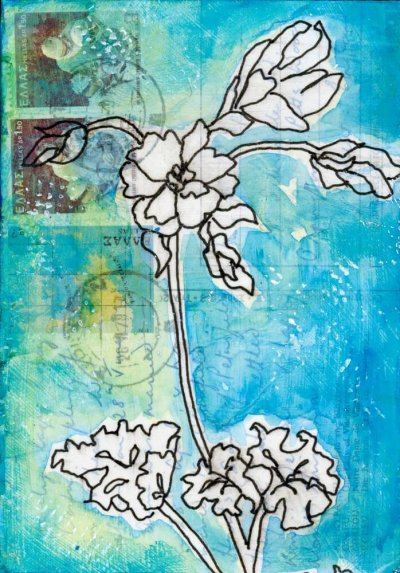 Drawing of geranium flower on vintage postcard from Greece painting