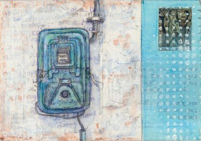 electric meter painting Greece postcard art