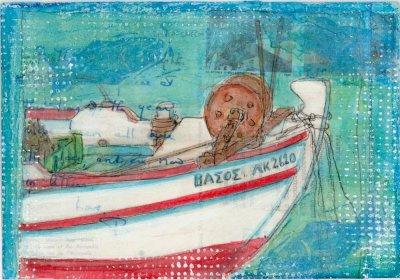Greek fishing boat postcard painting