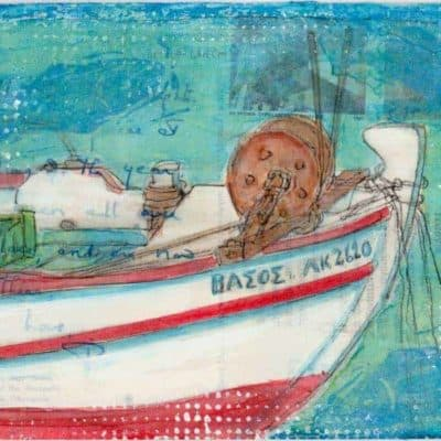 Greek fishing boat postcard painting