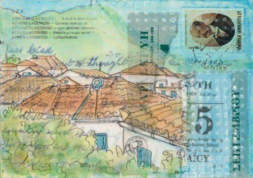 greek village rooftops collage postcard painting