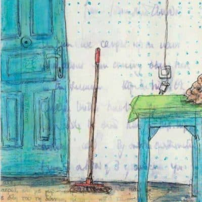 blue door table postcard art