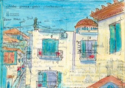 Greek village scene church rooftops postcard art collage