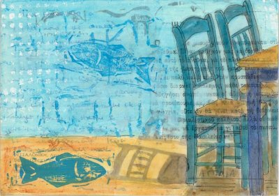 altered postcard painting fish tables taverna chairs