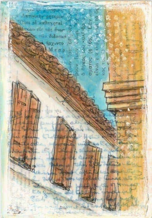 Greek village postcard collage painting Greek text