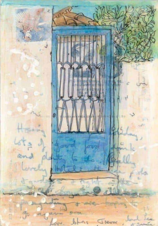 postcard painting Greek village street scene
