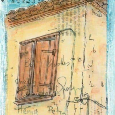 Greek shutters old hiuse painting in postcard