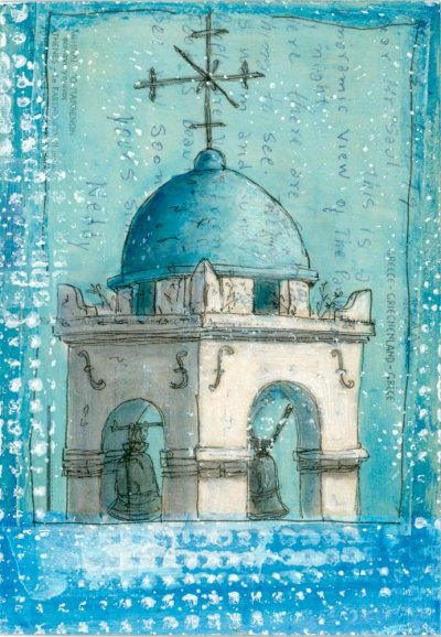 church tower painting on postcard from Greece