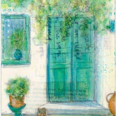 green door with pots and plants painting greek postcard art