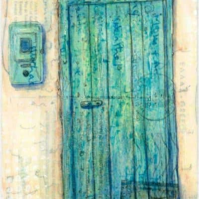 green door and electric meter painting on Greek postcard