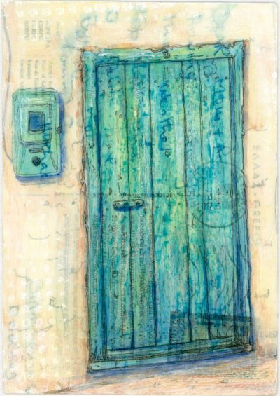 green door and electric meter painting on Greek postcard