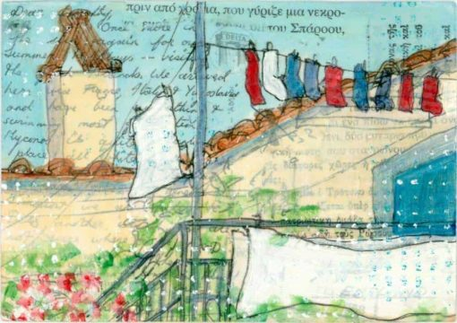 washing line Greek village hiuse painting on postcard collage art