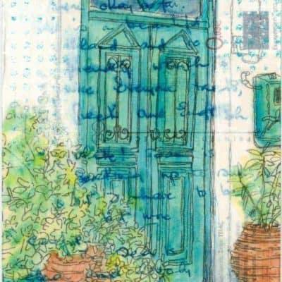 Green door with terracotta pots and plants postcard art