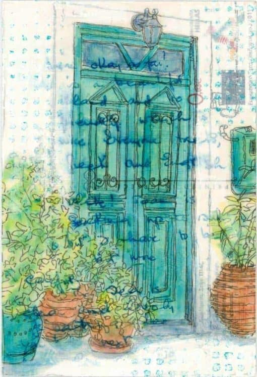 Green door with terracotta pots and plants postcard art