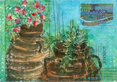 postcard art Greek pots geraniums collage art
