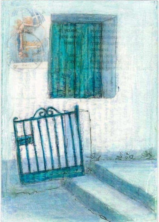 Greek village house and gate postcard painting